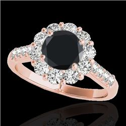 2 CTW Certified VS Black Diamond Solitaire Halo Ring 10K Rose Gold - REF-98F9N - 33422