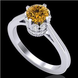 1.14 CTW Intense Fancy Yellow Diamond Engagement Art Deco Ring 18K White Gold - REF-136N4Y - 37343