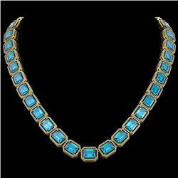 79.01 CTW Swiss Topaz & Diamond Halo Necklace 10K Yellow Gold - REF-739W3F - 41509
