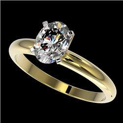 1.25 CTW Certified VS/SI Quality Oval Diamond Solitaire Ring 10K Yellow Gold - REF-370T8M - 32915