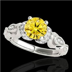 1.2 CTW Certified Si Intense Yellow Diamond Solitaire Antique Ring 10K White Gold - REF-200Y2K - 346
