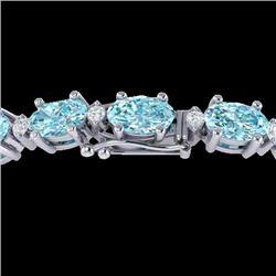 14 CTW Sky Blue Topaz & VS/SI Diamond Eternity Bracelet 10K White Gold - REF-73H6A - 21443
