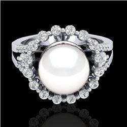 0.83 Ct Micro Pave VS/SI Diamond & Pearl Halo Ring 18K White Gold - REF-85M6H - 20706