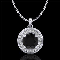 1.25 CTW Fancy Black Diamond Solitaire Art Deco Stud Necklace 18K White Gold - REF-89K3W - 38017