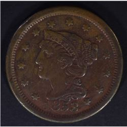 1853 LARGE CENT, VF