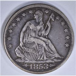 1853 WITH ARROWS & RAYS SEATED HALF DOLLAR, XF