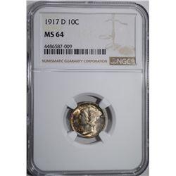 1917-D MERCURY DIME NGC MS-64