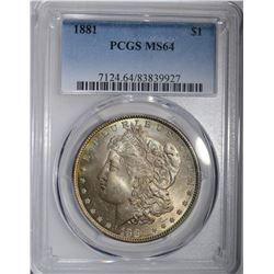 1881 MORGAN SILVER DOLLAR PCGS MS-64