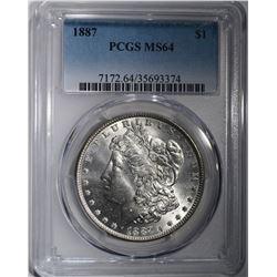 1887 MORGAN SILVER DOLLAR PCGS MS-64