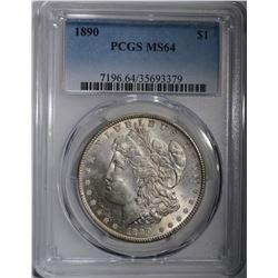1890 MORGAN SILVER DOLLAR PCGS MS-64