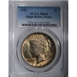 1921 PEACE DOLLAR HIGH RELIEF PCGS MS-64