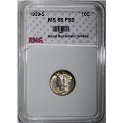 1939-S MERCURY DIME RNG SUPERB GEM+ FSB
