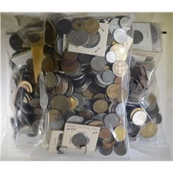 OVER 18 POUNDS OF FOREIGN COINS--UNSEARCHED