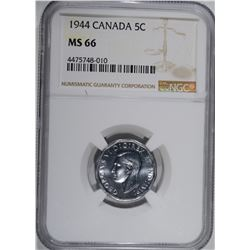 1944 CANADA 5 CENTS NGC MS 66