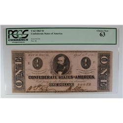 1863 $1 CONFEDERATE STATES OF AMERICA