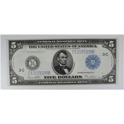 1914 $5 FEDERAL RESERVE NOTE  CH/AU
