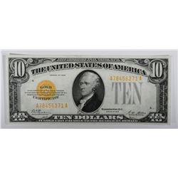 1928 $10 GOLD CERTIFICATE CH.AU/CU