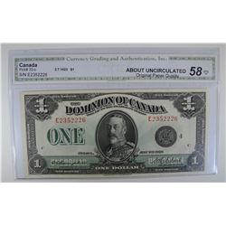 1923 $1 CANADIAN BANK NOTE CGA AU OPQ