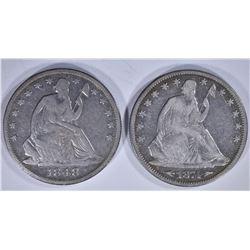 2 - SEATED HALF DOLLARS; 1848-O VG/F &