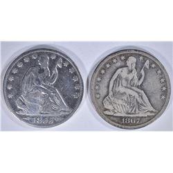 2 - SEATED HALF DOLLARS; 1867-S FINE &