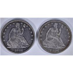 2 - SEATED HALF DOLLARS; 1856-O F/VF &