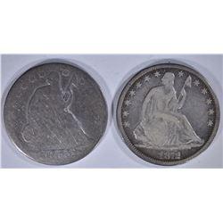 2 - SEATED HALF DOLLARS; 1872 FINE+ &