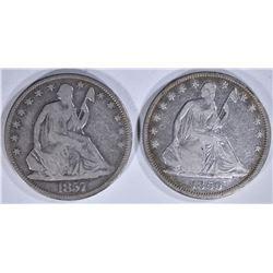 2 - SEATED HALF DOLLARS; 1857 VG &