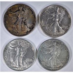 4 - AU WALKERS; 1937, 1941-D, 1942, 1943
