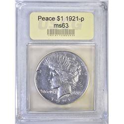 1921 PEACE DOLLAR USCG CHOICE BU