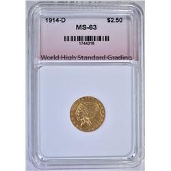 1914-D $2.50 GOLD INDIAN, WHSG CH BU