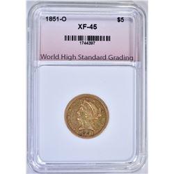 1851-O $5.00 GOLD LIBERTY, WHSG XF/AU