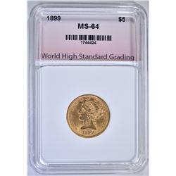 1899 $5.00 GOLD LIBERTY, WHSG CH/GEM BU
