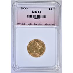 1905-S $5.00 GOLD LIBERTY, WHSG CH/GEM BU