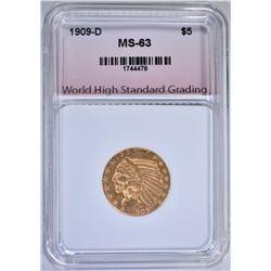 1909-D $5.00 GOLD INDIAN, WHSG CH BU