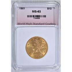 1901 $10.00 GOLD LIBERTY, WHSG CH BU