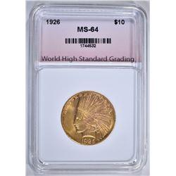 1926 $10.00 GOLD INDIAN, WHSG CH/GEM BU