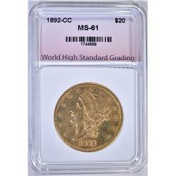 1892-CC $20.00 GOLD LIBERTY, WHSG BU
