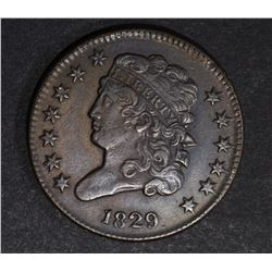 1829 HALF CENT, XF/AU
