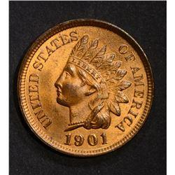 1901 INDIAN CENT, GEM BU RED