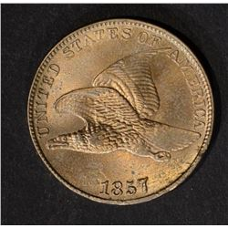 1857 FLYING EAGLE CENT, CH BU cleaned