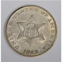 1852 3-CENT SILVER, AU+