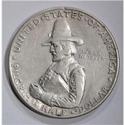 1920 PILGRIM COMMEM HALF DOLLAR, AU