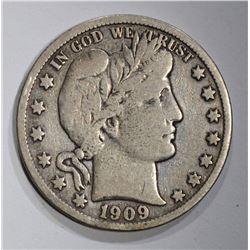 1909-S BARBER HALF DOLLAR, FINE