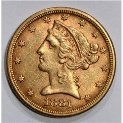 1881 $5.00 GOLD LIBERTY, AU