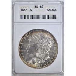 1887 MORGAN DOLLAR ANACS MS62