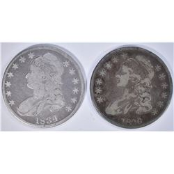1836 VF+, 1834 VG/F BUST HALF DOLLARS