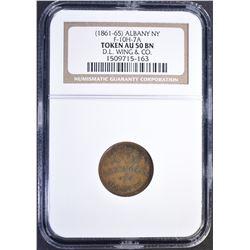1861-65 ALBANY NY TOKEN NGC AU50 BN