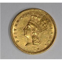 1877 $1 GOLD  CH BU PL