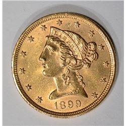 1899 $5 GOLD LIBERTY HEAD