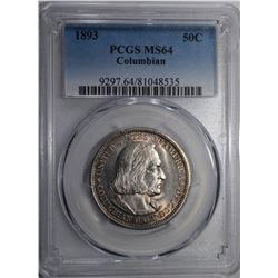 1893 COLUMBIAN COMMEM HALF DOLLAR PCGS MS-64